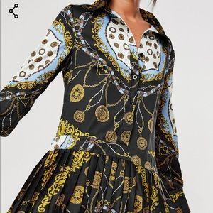 chain print shirt dress